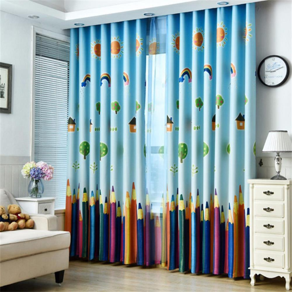 Modern Minimalist Home Decor Pencil Curtains - BLUE 100X250CM