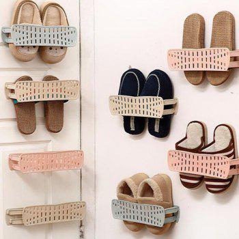 Plain Foldable Wall-mounted Simple Paste Shoe Storage Rack - PINK