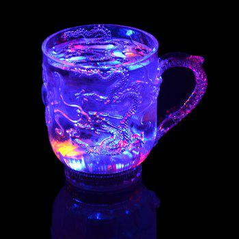 Engraved Tattoo Dragon   Lover Gifts Colorful Luminous LED Induction Magic Light Drinking Cup - TRANSPARENT 8X9.7X5.5CM