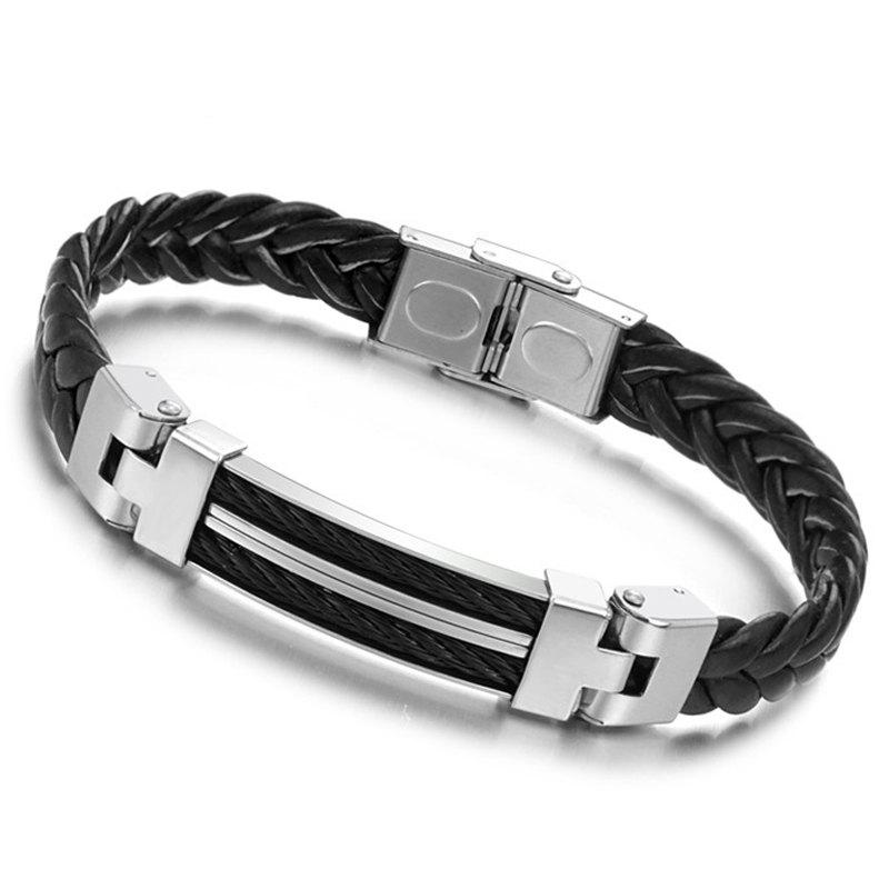 Men's Fashion Leather Braided Bracelet Stainless Steel Magnetic Clasp Bangle - BLACK