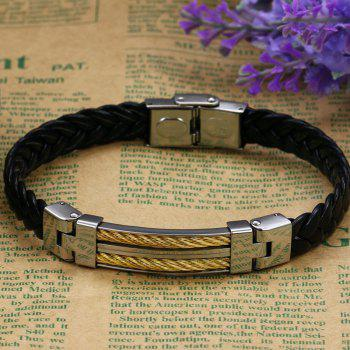 Fashion Men's  Leather Braided Bracelet Stainless Steel Magnetic Clasp Bangle - BLACK