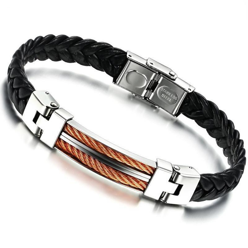 Korean Fashion Leather Braided Bracelet Stainless Steel Magnetic Clasp Bangle for Men's - BLACK