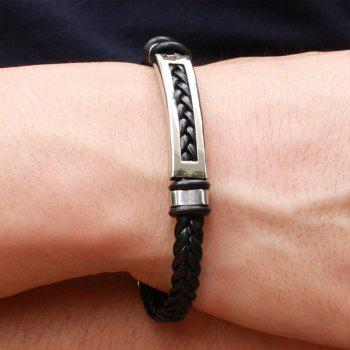 Men's Leather Braided Bracelet Stainless Steel Magnetic Clasp Bangle - BLACK