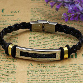 Korean Fashion Men's  Stainless Steel Magnetic Clasp Bangle Leather Braided Bracelet - BLACK