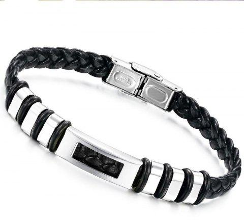 Fashion Leather Braided Bracelet Stainless Steel Magnetic Clasp Bangle - BLACK