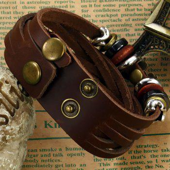 Men's Leather Braided Adjustable Bracelet Stainless Steel Magnetic Clasp Bangle - BROWN