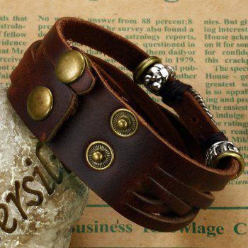 Men's Leather Braided Bracelet Double-Breasted Adjustable Bangle - BROWN