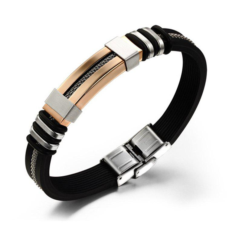 Korean Fashion Men's Silicone Bracelet Stainless Steel Magnetic Clasp Bangle - GOLDEN