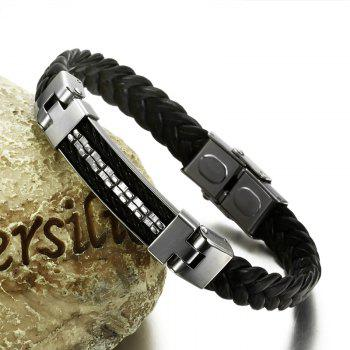 Leather and Stainless Steel Magnetic-Clasp Bracelet - BLACK