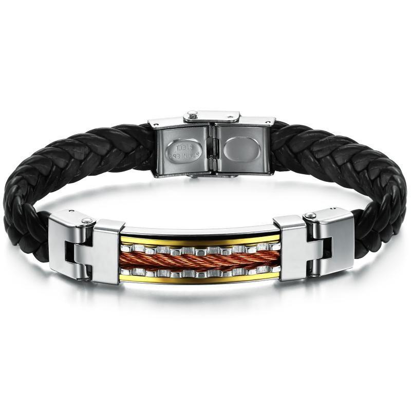 Men's Fashion Leather and Stainless Steel Magnetic-Clasp Bracelet - BLACK