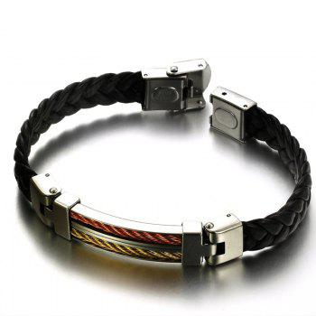 Fashion Men's Stainless Steel Braided Leather Double Strand Bracelet - BLACK