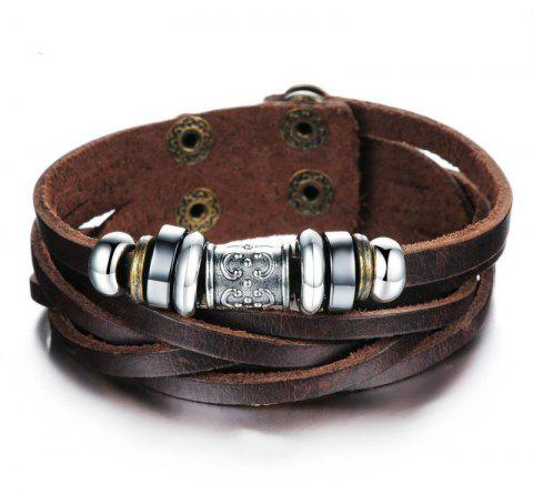 Fashion Men's Leather Braided Bracelet - BROWN