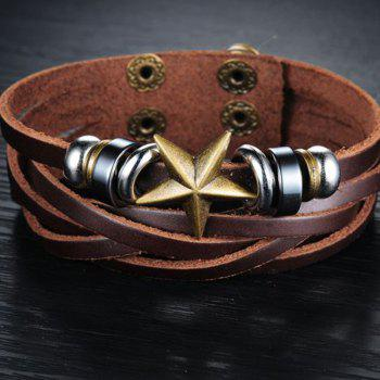 Men's Leather Braided Double-Breasted Resizable Bracelet - BROWN