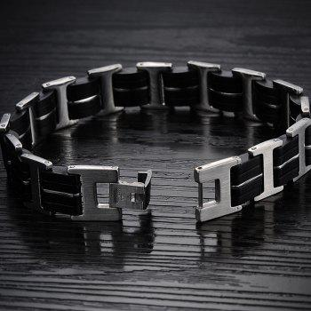 Fashion Men's Silicone Bracelet Stainless Steel Magnetic Clasp Bangle - BLACK