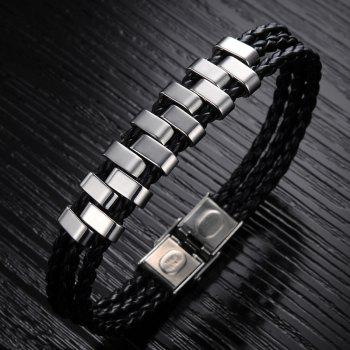 Korean Fashion Men's Leather Braided Bracelet Stainless Steel Magnetic Clasp Trendy Bangle - BLACK