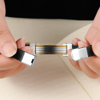 Men's Leather Bracelet Stainless Steel Magnetic Clasp Bangle - BLACK