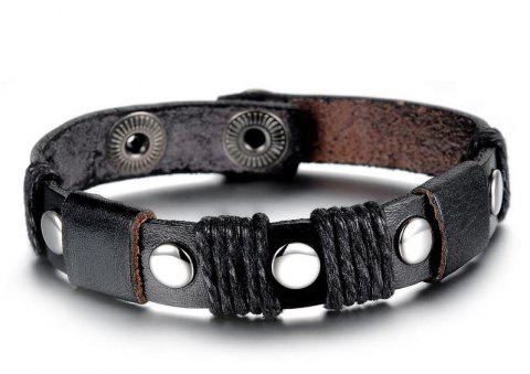 Fashion Men's Leather Resizable Bracelet Stainless Steel Magnetic Clasp Bangle - BLACK