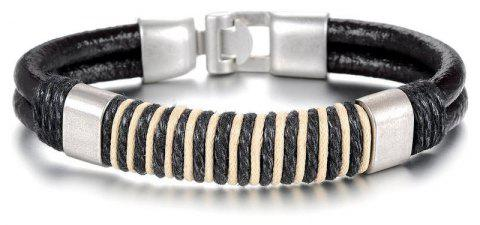 Stainless Steel Braided Leather Bracelet for Men Cuff Magnetic Clasp - BLACK