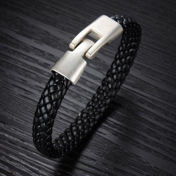 Men Cuff Magnetic Clasp Stainless Steel Braided Leather Bracelet - BLACK