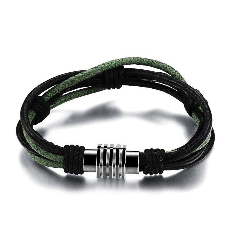 Men's Multicolor Leather Braided Bracelet Stainless Steel Magnetic Clasp Bangle - BLACK