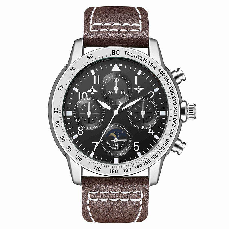 Hannah Martin Men New Measuring Wind Speed Fashion Quartz Watch - BROWN/BLACK