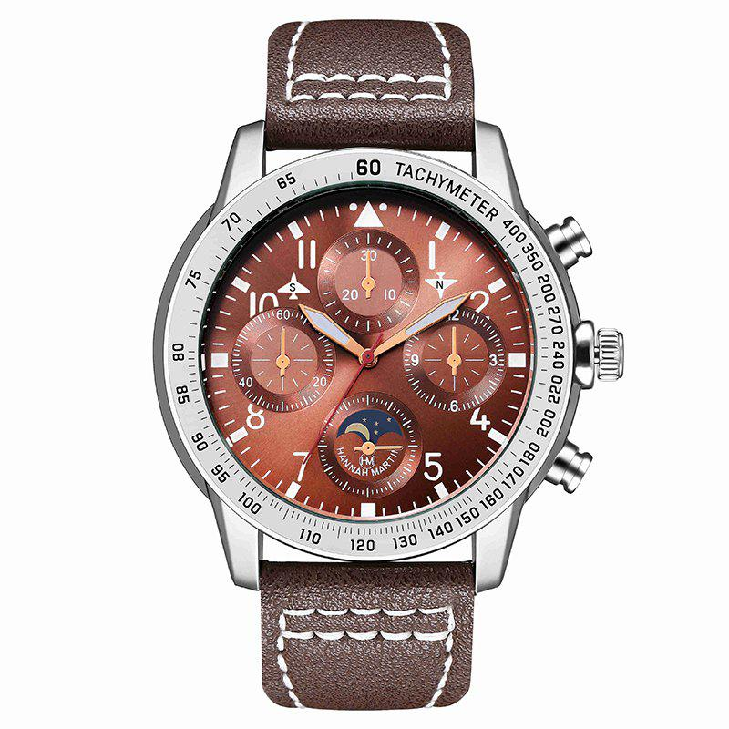 Hannah Martin Men New Measuring Wind Speed Fashion Quartz Watch - BROWN