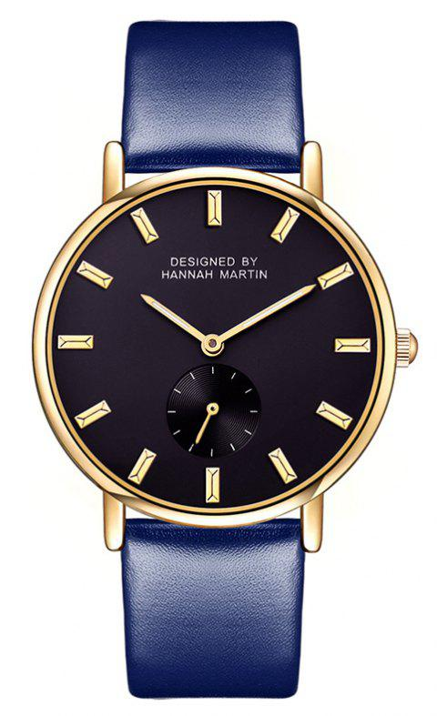 Hannah Martin Neutral Fashion Simple Leisure Leather Two-Pin Semi-Small Quartz Watch - BLUE