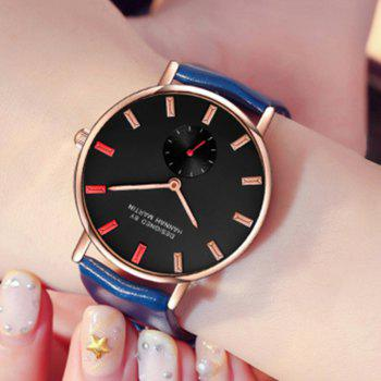 Hannah Martin Neutral Fashion Simple Leisure Leather Two-Pin Semi-Small Quartz Watch - BLUE/RED
