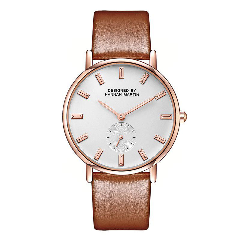 Hannah Martin Neutral Fashion Simple Leisure Leather Two-Pin Semi-Small Quartz Watch - GOLDEN