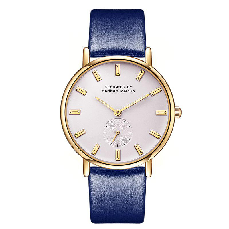 Hannah Martin Neutral Fashion Simple Leisure Leather Two-Pin Semi-Small Quartz Watch - BLUE/WHITE