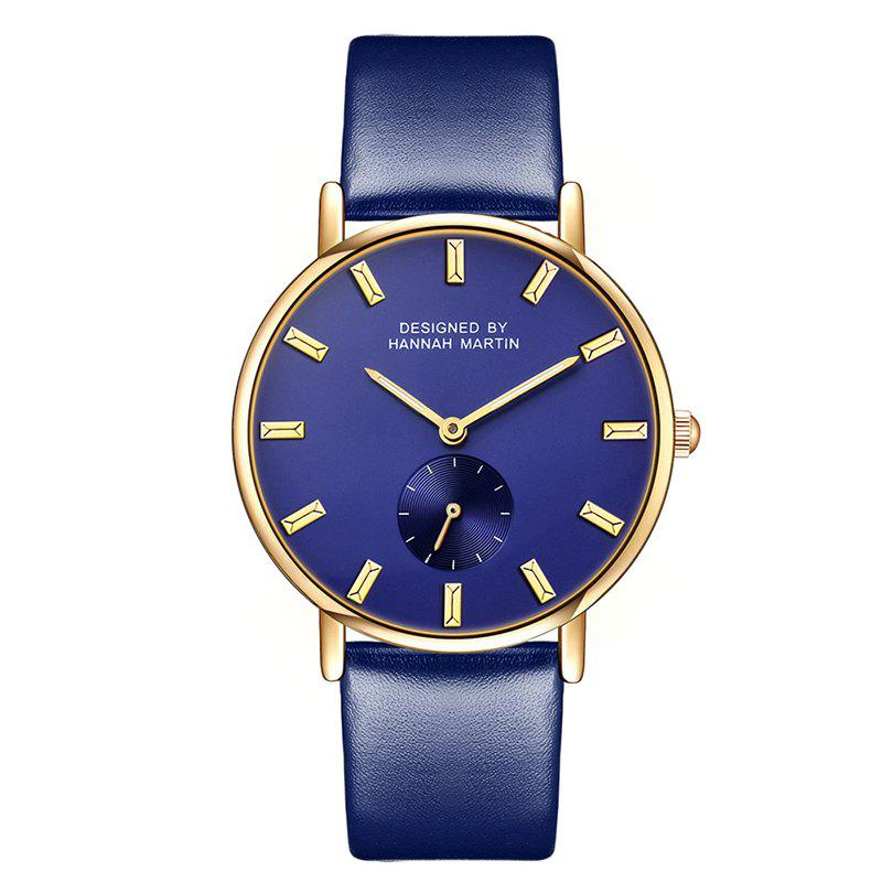 Hannah Martin Neutral Fashion Simple Leisure Leather Two-Pin Semi-Small Quartz Watch - BLUE/BLUE