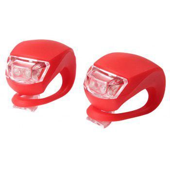 Cycling LED Front Silicone Battery Energy Rear Flash Warning Lamp  2 pcs - RED