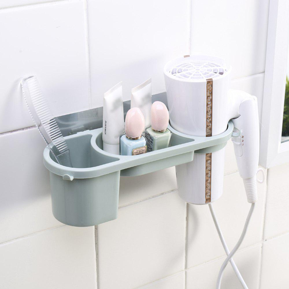Hair Dryer Rack Non-Trace Blower Receive Bathroom Toilet Sucker Punched Shelf Free - GREEN
