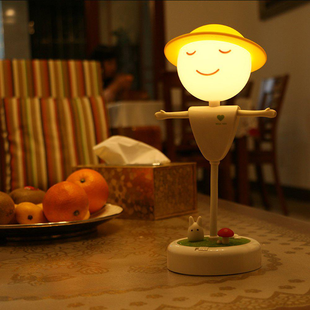 Mini LED Night Light Scarecrow Shape Touch Induction for Student Gift - WARM WHITE