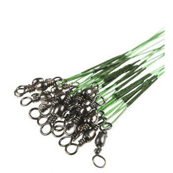 Fishing Lead Line Leader Wire Stainless Steel Rolling Swivels - GREEN 15CM