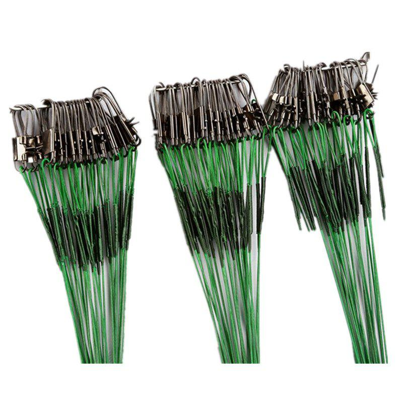 60PCS/LOT 15CM/25CM/30CM Fishing Line Steel Wire Leader With Swivel Interlock Snap - GREEN