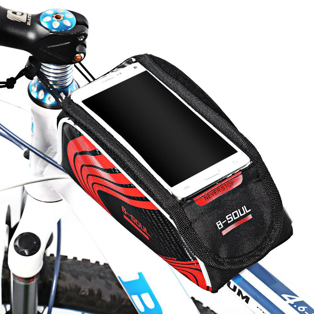 B-SOUL Bicycle Mount for 5.7 Inches Handlebar Phone Bag - RED