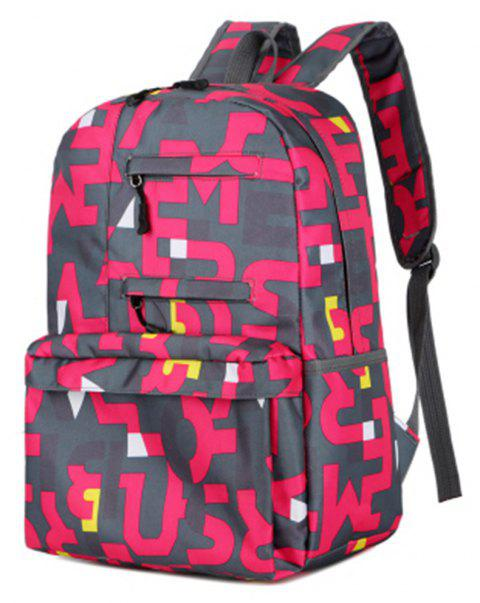 1053 Students Nylon Fabric Bag - ROSE RED