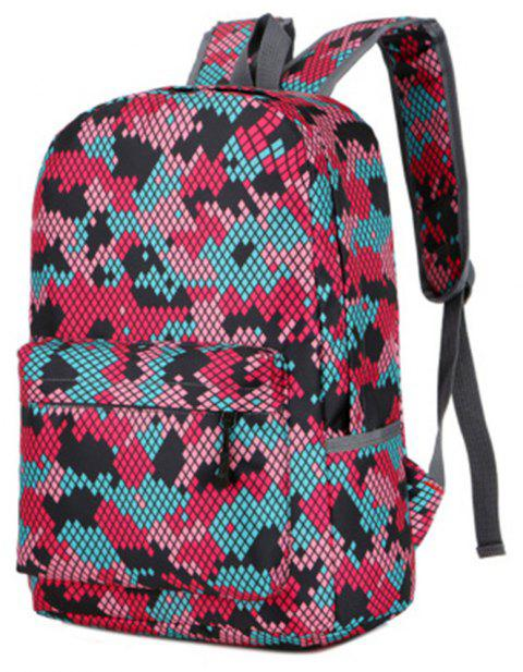 Camouflage Backpack 1052 Nylon Mesh Cloth - ROSE RED
