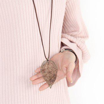 Fashion Ornaments Hollowed Out Metal Sweater Chain Necklace - GOLDEN