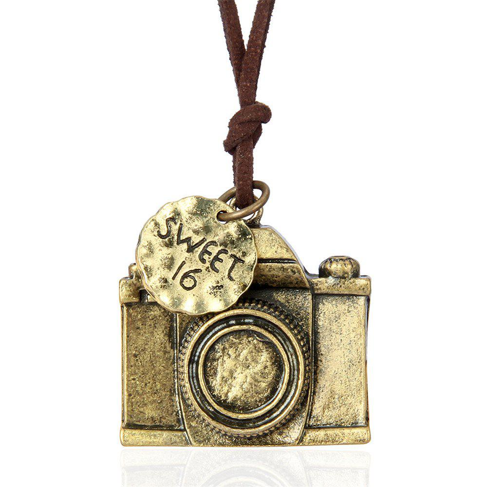 Stylish Personality Ornament Camera Pendant Sweater Chain Long Necklace - GOLDEN