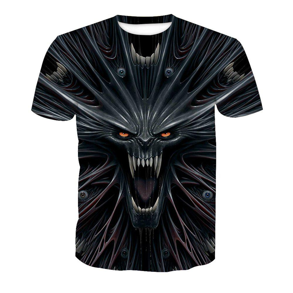 Skull Printed Short-Sleeved T-Shirt - BLACK 3XL