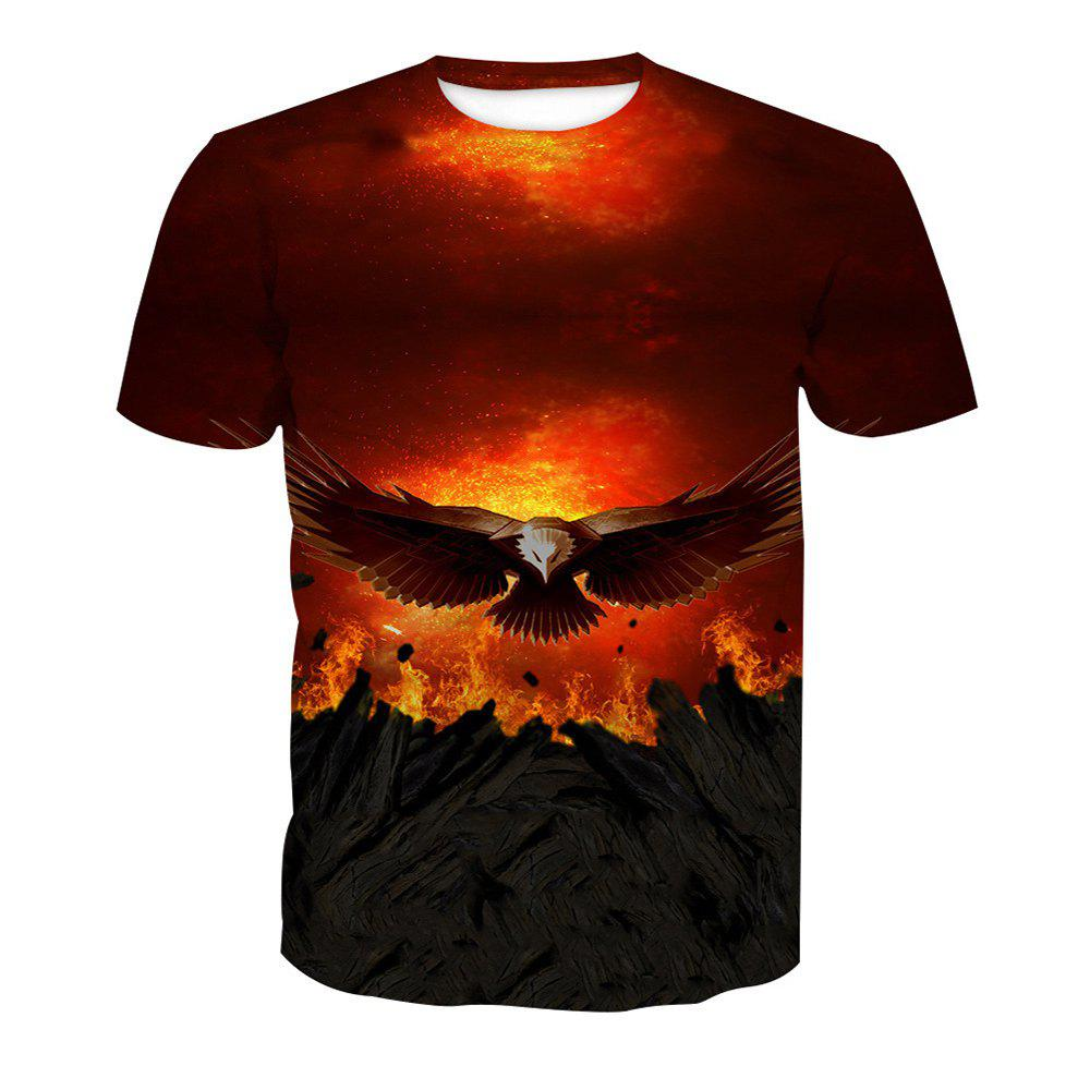 Eagle Print Short-Sleeved T-Shirt - ANIMAL SERIES 5XL