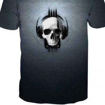 Skeleton Print Short-Sleeved T-Shirt - SKULL 2XL