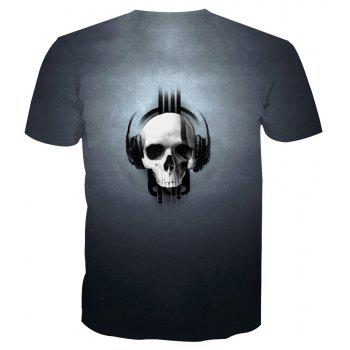 Skeleton Print Short-Sleeved T-Shirt - SKULL 3XL