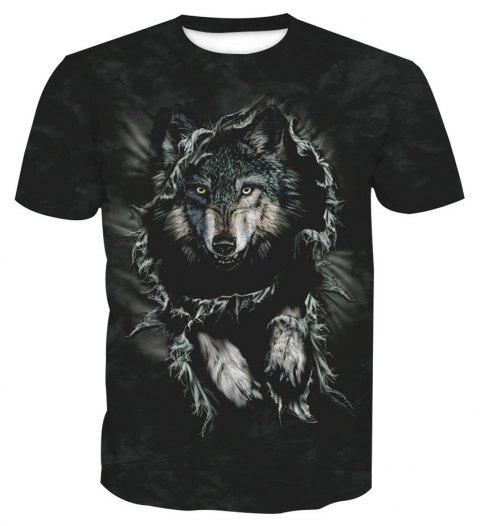 Printed Wolf Short-Sleeved T-Shirt - ANIMAL HEAD 3XL