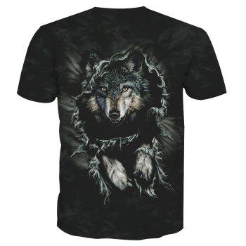 Printed Wolf Short-Sleeved T-Shirt - ANIMAL HEAD 2XL