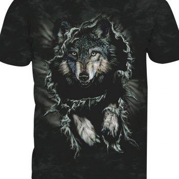 Printed Wolf Short-Sleeved T-Shirt - ANIMAL HEAD 4XL