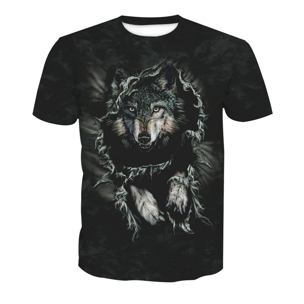 Printed Wolf Short-Sleeved T-Shirt - ANIMAL HEAD XL
