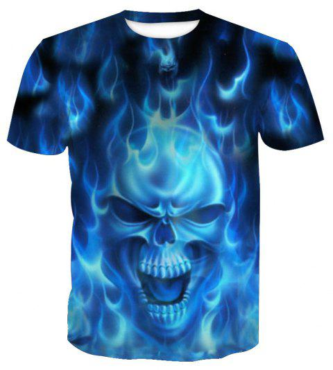 Short Sleeve Print Skull T-Shirt - SKULL XL